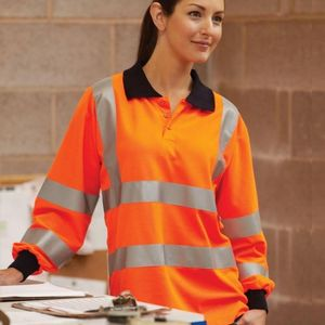 Yoko Hi-Vis Two Band Long Sleeve Polo